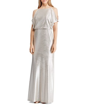 Ralph Lauren - Metallic Cold-Shoulder Gown