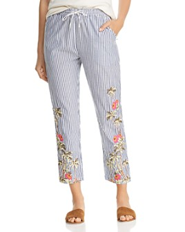 Scotch & Soda - Embroidered Striped Cropped Pants