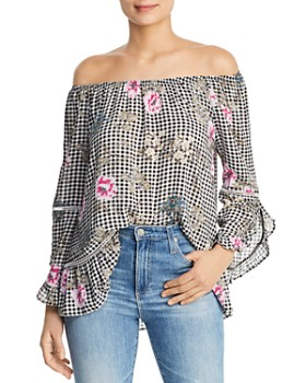 86043ea9a191b Single Thread - Floral Gingham Off-the-Shoulder Top ...