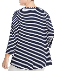 Cupio Plus - Striped Roll Sleeve Top
