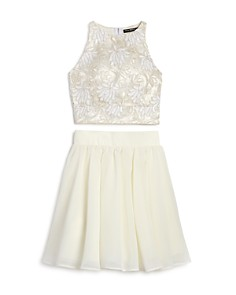 Miss Behave - Girls' 2-Piece Lace Tank & Skirt Set - Big Kid