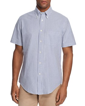 Brooks Brothers - Short-Sleeve Striped Seersucker Classic Fit Button-Down Shirt