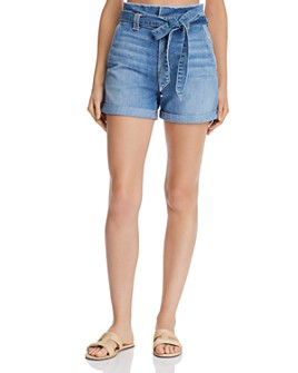 7 For All Mankind - Paperbag-Waist Denim Shorts in Bright Bluejay