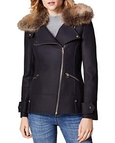 KAREN MILLEN - Faux Fur-Collar Biker Jacket