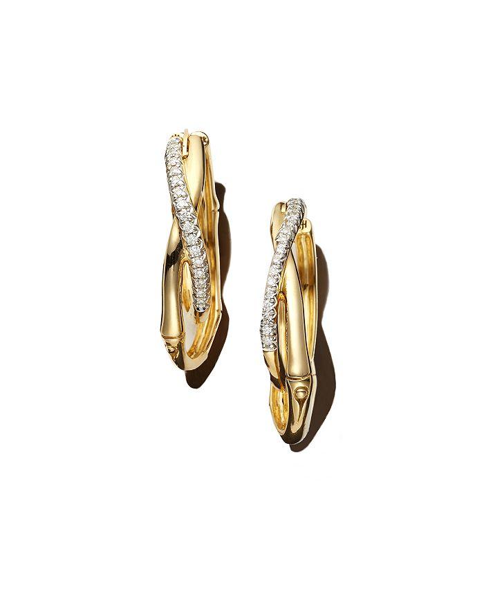 John Hardy 18K YELLOW GOLD BAMBOO PAVE DIAMOND EARRINGS