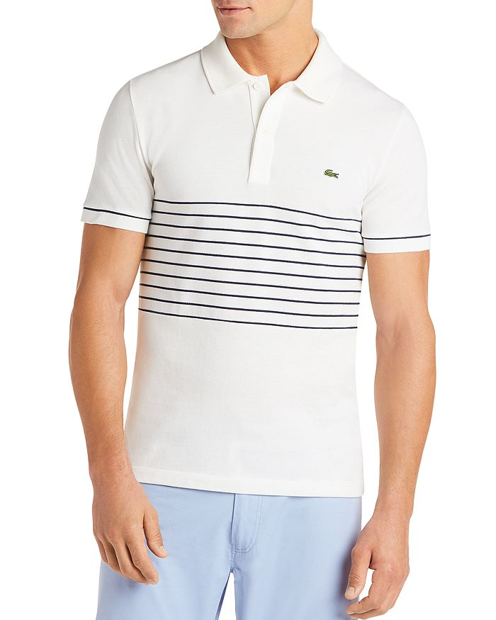 Lacoste - Stripe-Accented Regular Fit Piqué Polo Shirt - 100% Exclusive