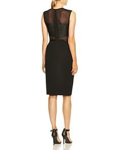 HALSTON HERITAGE - Sleeveless High-Neck Illusion Bodice Dress