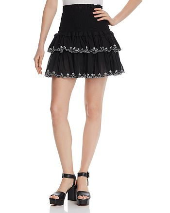 AQUA - Smocked Embroidered Mini Skirt - 100% Exclusive