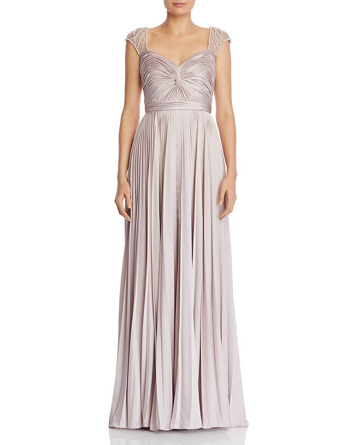 Aidan Mattox - Pearl-Embellished Satin Gown - 100% Exclusive