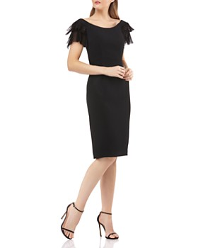 Carmen Marc Valvo Infusion - Tulle-Sleeve Dress