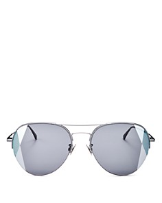 Bottega Veneta - Women's Mirrored Brow Bar Aviator Sunglasses, 58mm