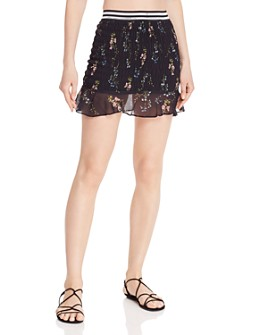 For Love & Lemons - Odette Floral Smocked Mini Skirt
