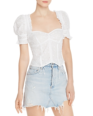 For Love & Lemons Tops COTTON EYELET LACE TOP