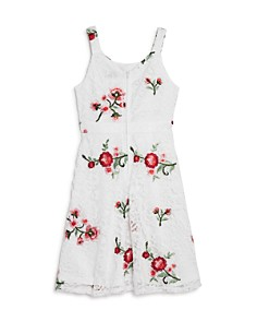US Angels - Girls' Floral-Embroidered Lace Dress - Big Kid