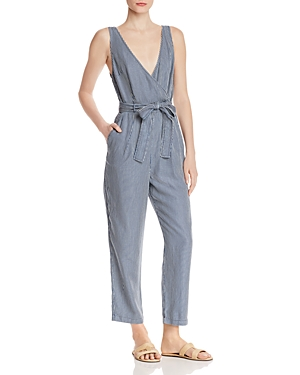 French Connection Suits JULIENNE PINSTRIPED SLEEVELESS JUMPSUIT