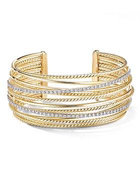 David Yurman - 18K Yellow Gold Crossover Cuff Bracelet with Diamonds