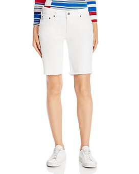 AG - Nikki Denim Bermuda Shorts in 1 Year Tonal White