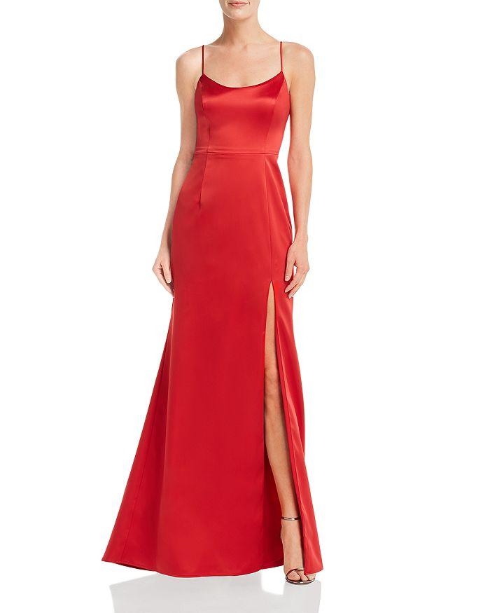 AQUA - Slit Satin Gown - 100% Exclusive