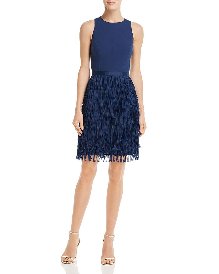 Aidan by Aidan Mattox - Fringe-Trimmed Cocktail Dress