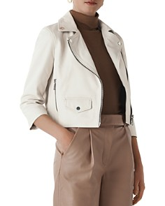 Whistles - Taylor Cropped Leather Biker Jacket