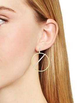 Freida Rothman - Radiance Pavé Bar Hoop Drop Earrings in 14K Gold-Plated & Rhodium-Plated Sterling Silver