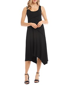 Karen Kane - Seamed Handkerchief-Hem Midi Dress