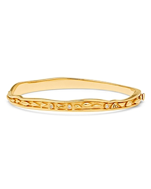 Temple St. Clair 18K Yellow Gold Small River Wave Bangle Bracelet with Diamonds