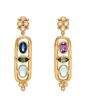 Temple St. Clair - 18K Yellow Gold Theodora Cartouche Drop Earrings with Diamonds & Multi Gemstones
