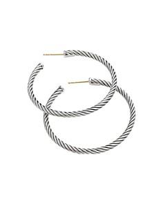 David Yurman - Sterling Silver Cable Medium Hoop Earrings