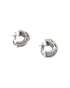 David Yurman - Sterling Silver Buckle Shrimp Earrings with 18K Yellow Gold