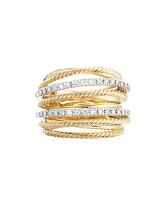 David Yurman - Crossover Wide Ring in 18K Yellow Gold with Diamonds