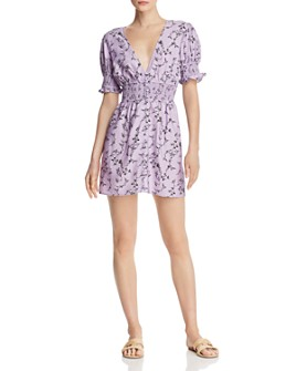 Keepsake - Secure Floral Smocked-Waist Mini Dress