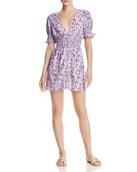 Keepsake - Secure Floral Smocked-Waist Mini Dress