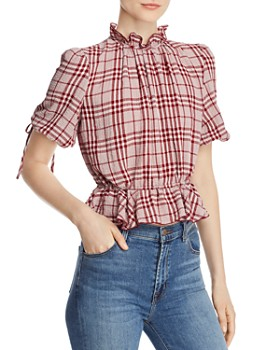 The East Order - Pippa Plaid Tie-Back Top