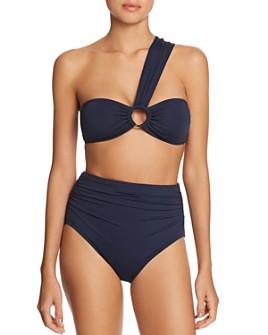 Carmen Marc Valvo - One-Shoulder Bandeau Bikini Top & Shirred High-Waist Bikini Bottom