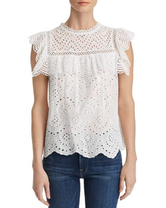 Ruffled Eyelet Top   100 Percents Exclusive by Aqua