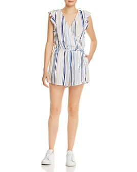 Bella Dahl - Striped Flutter-Sleeve Romper