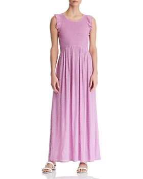 0aa06d43f6 AQUA - Smocked Polka Dot Maxi Dress - 100% Exclusive ...