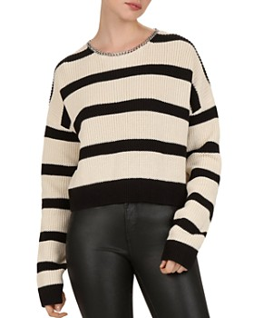 adb64983a39 The Kooples - Chain-Trimmed Striped Sweater ...