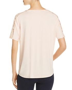 Avec - Short-Sleeve Lace-Trim Top