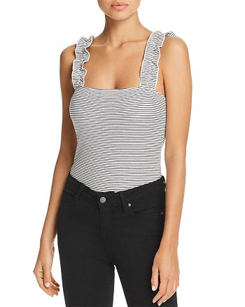 Little Black Bodysuit - Striped Ruffled-Strap Bodysuit
