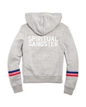 Spiritual Gangster - Girls' Striped-Sleeve Hoodie - Little Kid