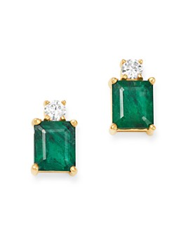 Bloomingdale's - Emerald & Diamond Stud Earrings in 14K Yellow Gold - 100% Exclusive