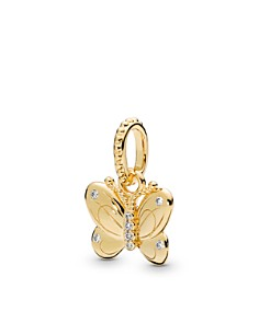 PANDORA - Gold Tone-Plated Sterling Silver & Cublc Zirconia Shine Butterfly Pendant