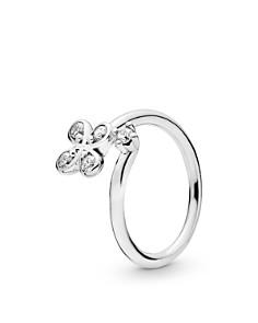 Pandora - Sterling Silver & Cubic Zirconia Flower Open Ring