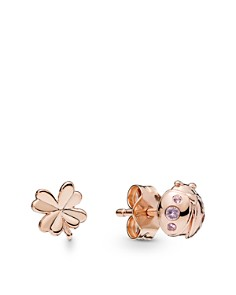 PANDORA - Rose Gold Tone-Plated Sterling Silver & Cubic Zirconia Ladybird & Clover Earrings