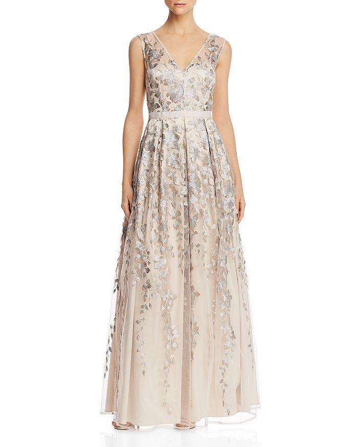 Eliza J - Embellished Tulle Overlay V-Neck Gown