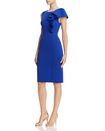 Eliza J - Asymmetric Draped Ruffle Sheath Dress