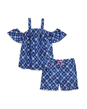dace1ddae651 Mini Series - Girls' Batik Print Cold-Shoulder Top & Shorts, Little Kid