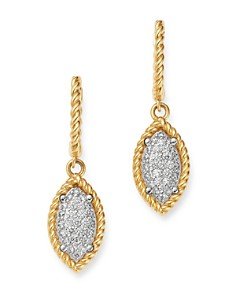 Roberto Coin - 18K Yellow & White Gold New Barocco Diamond Drop Earrings